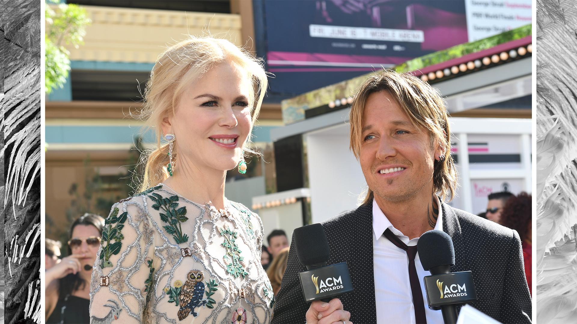 Aussie power couple Nicole Kidman and Keith Urban light up during a pre-show interview.