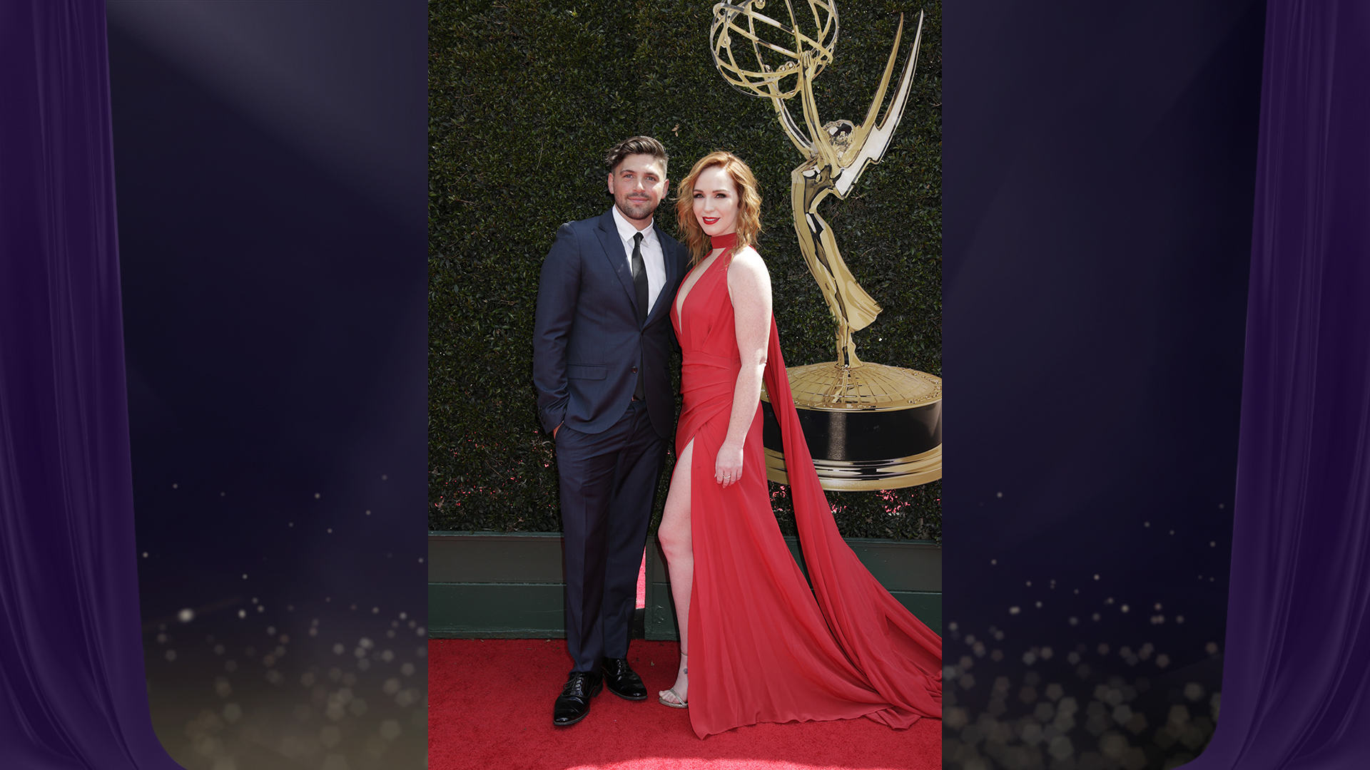 The Young and the Restless costars Robert Adamson and Camryn Grimes pose together before heading into the 2018 Daytime Emmy Awards.