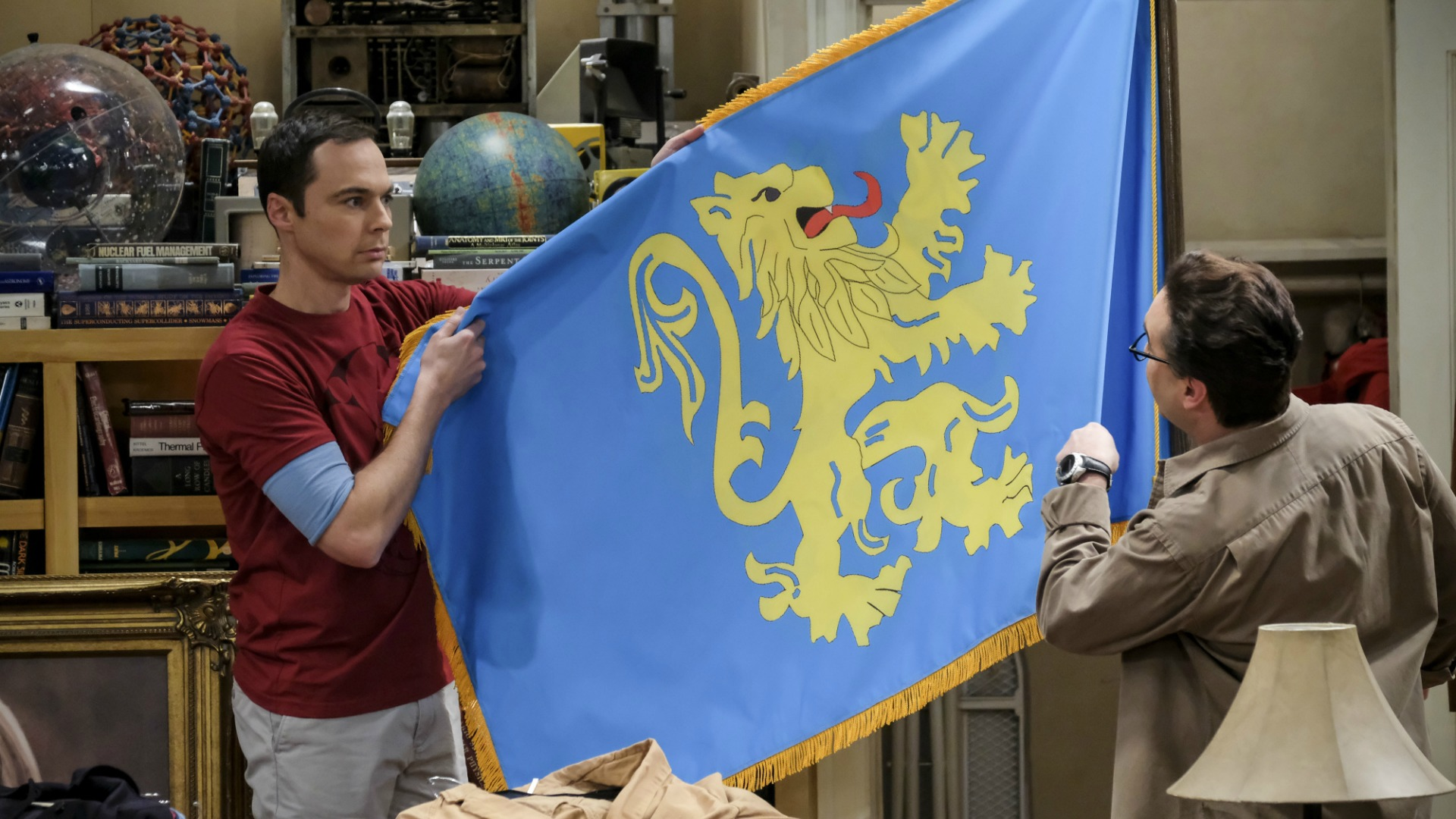 Sheldon and Leonard disagree on who should get the apartment flag.