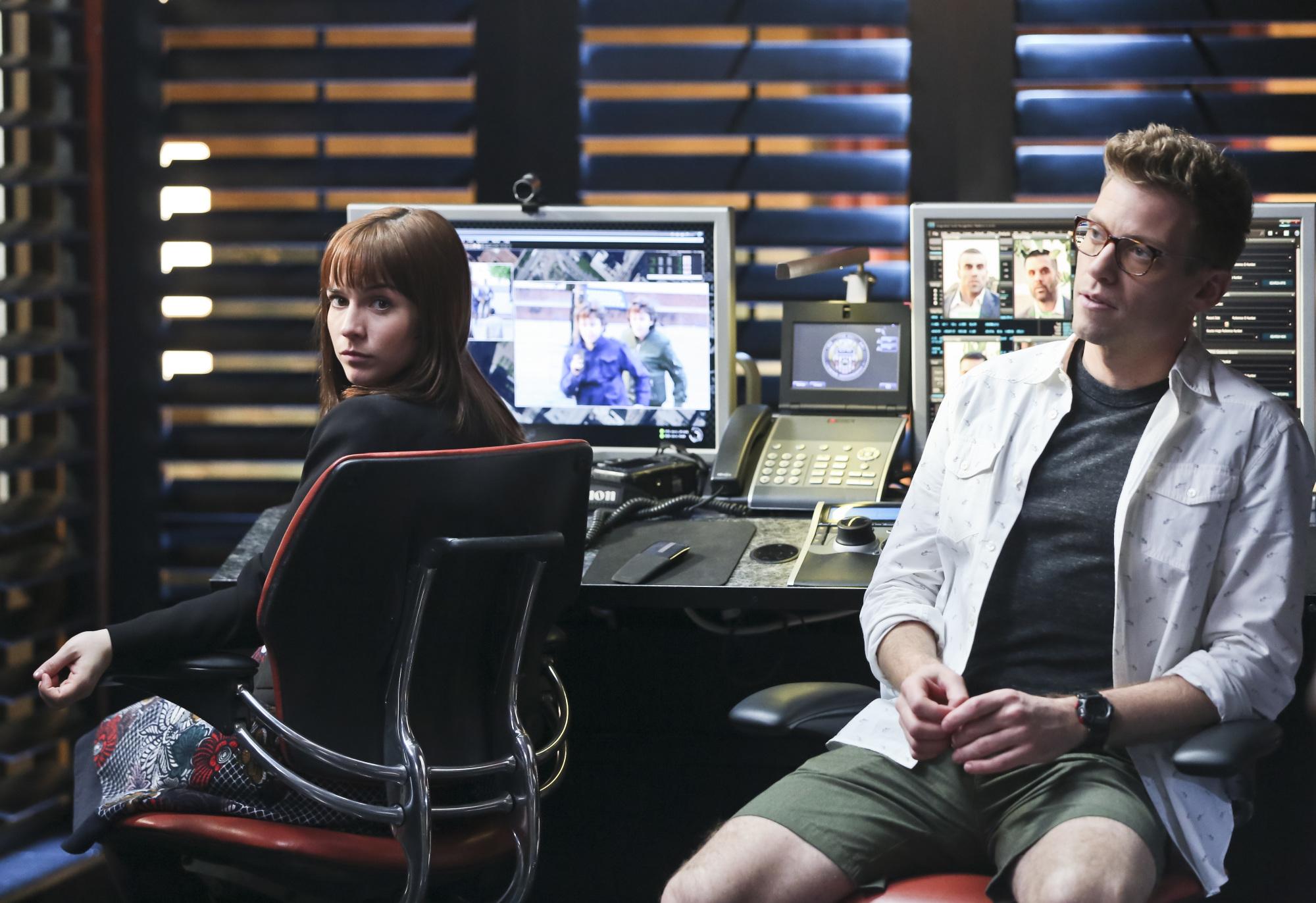 Renée Felice Smith as Intelligence Analyst Nell Jones and Barrett Foa as Tech Operator Eric Beale