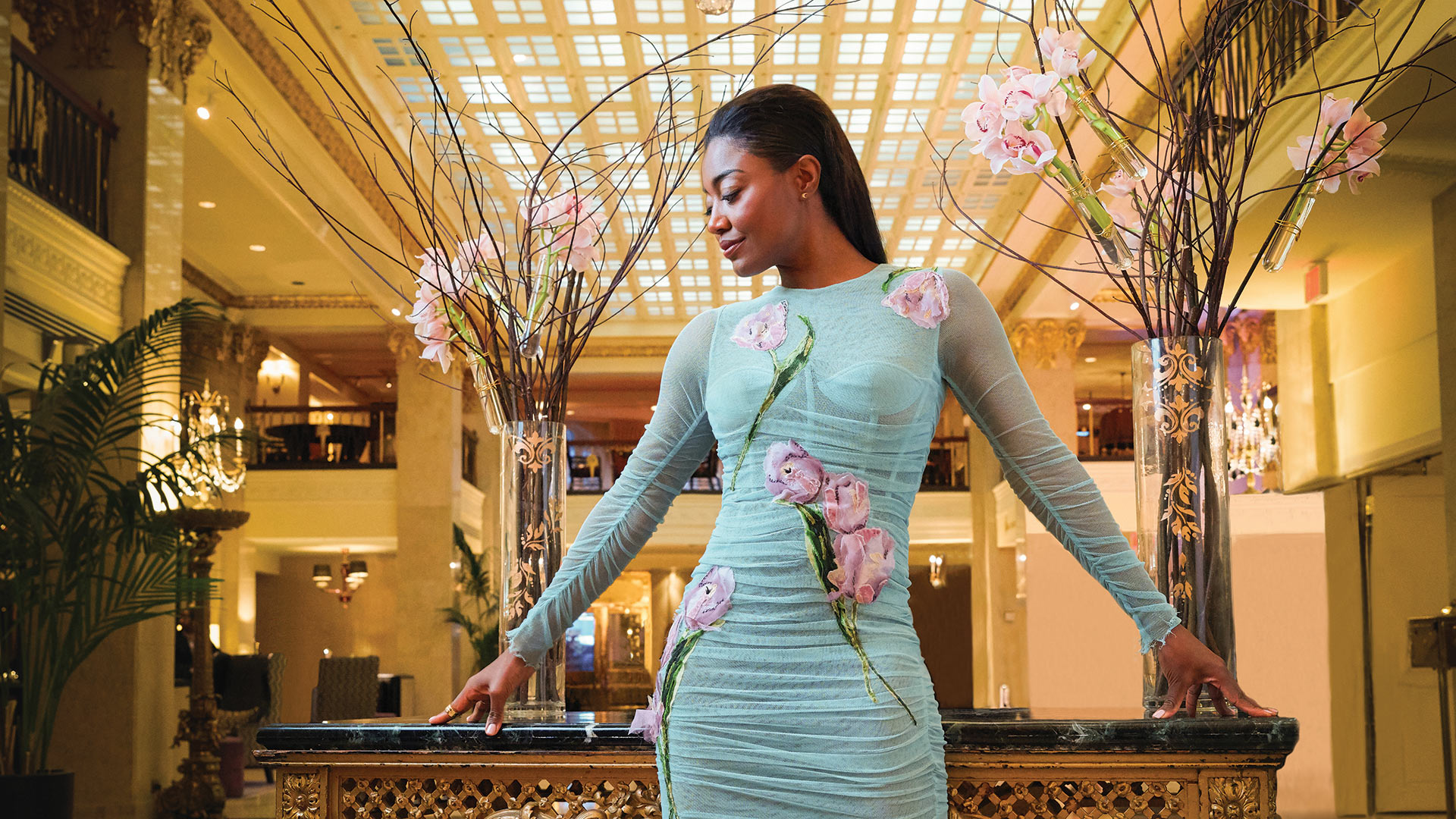Patina Miller poised and perfect in the Mayflower Hotel's elegant lobby