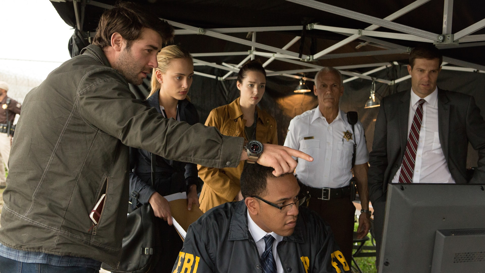 James Wolk as Jackson Oz, Nora Arnezeder as Chloe Tousignant, Kristen Connolly as Jamie Campbell, Don Yesso as Deputy Kraft, and Geoff Stults as Agent Ben Shaffe.