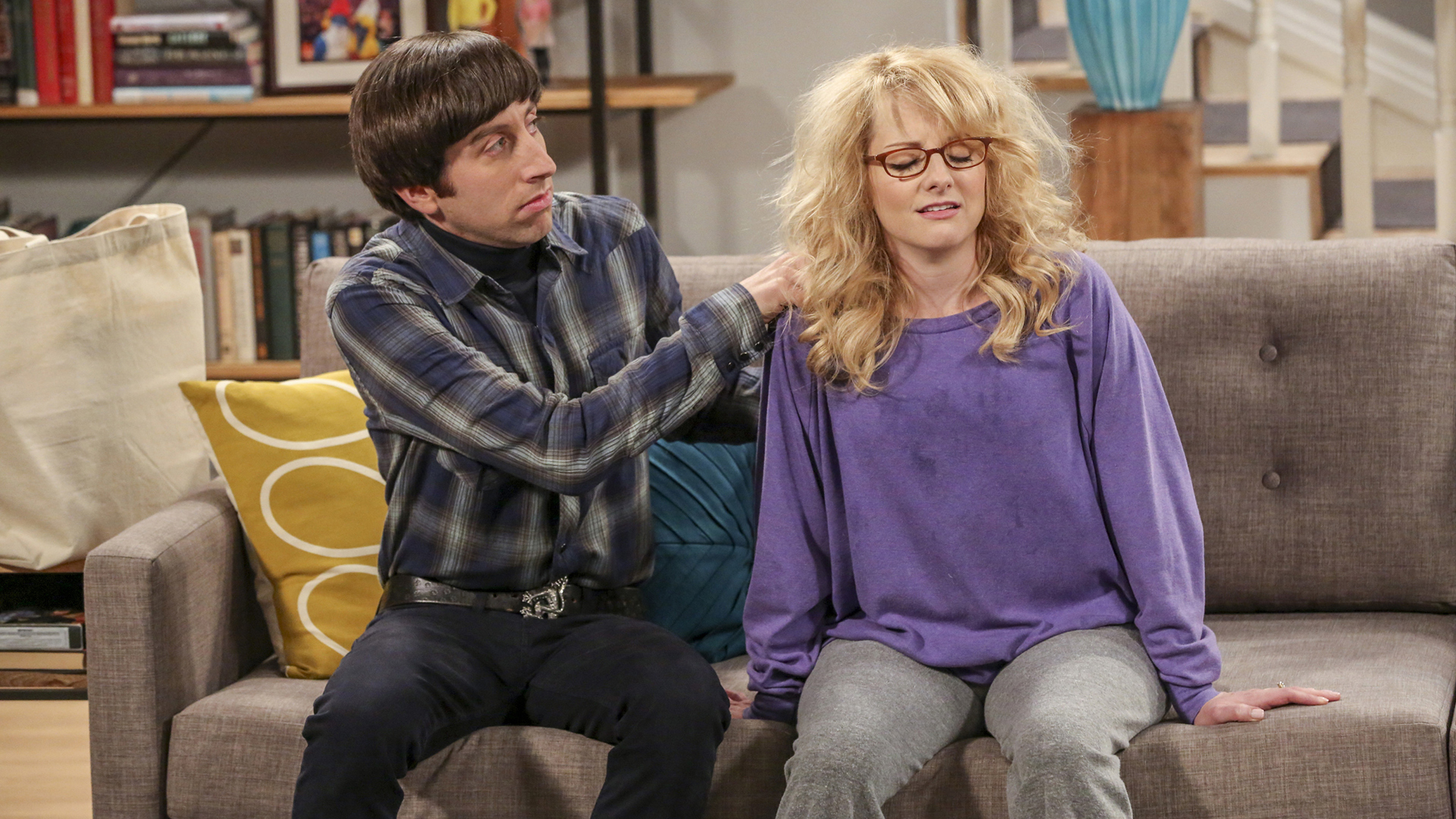 Howard tries to get Bernadette to relax after a long night nursing.
