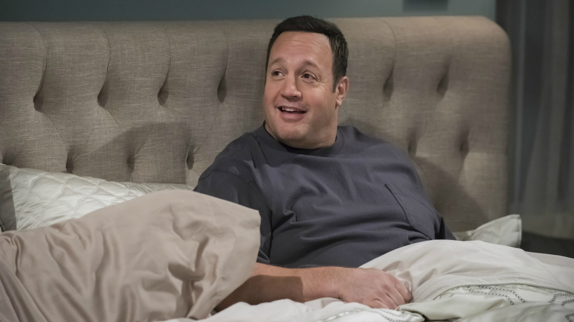 Kevin gets cozy in bed.