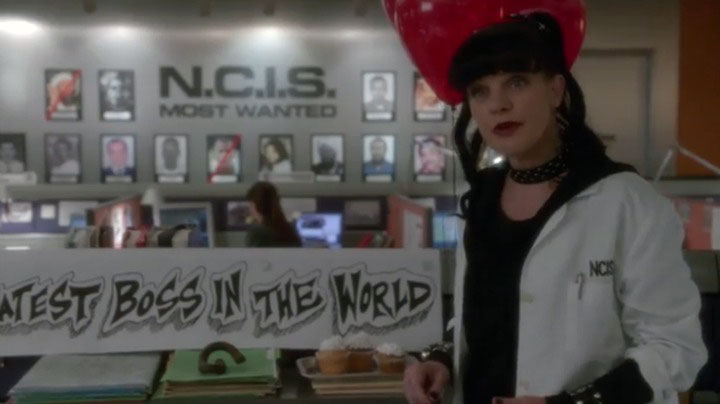 8. When Abby decorated Gibbs' desk to persuade him.