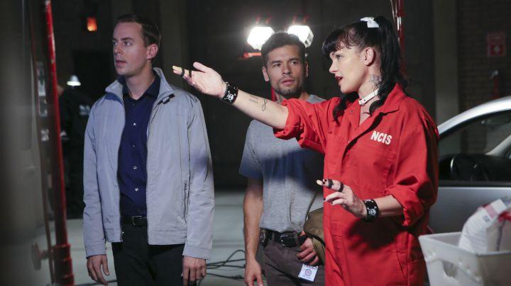 Pauley Perrette as Abby Sciuto, Sean Murray as Timothy McGee, and John Gabriel as DEA Agent Luis Mitchell