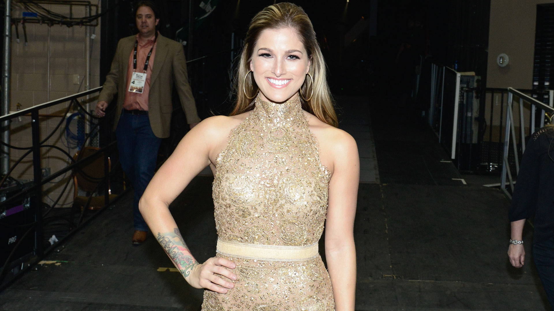 Cassadee Pope made a shimmery costume change for her duet of