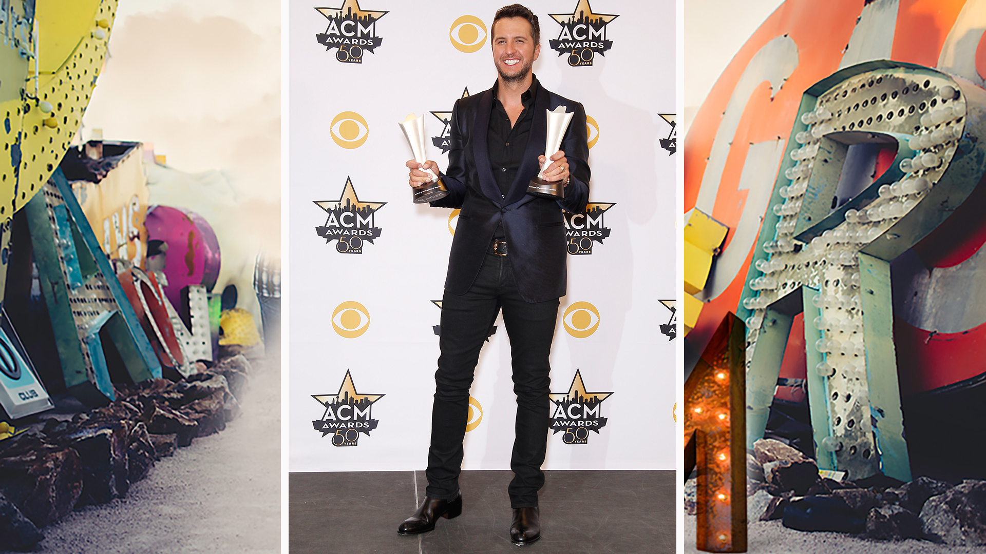 Luke Bryan dazzles alongside his shiny ACM Awards.