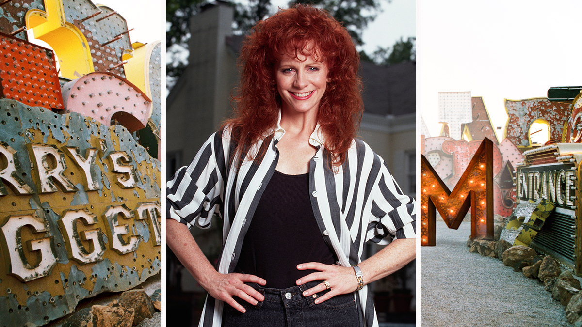 Reba McEntire makes a daring play with fire-engine red spirals.