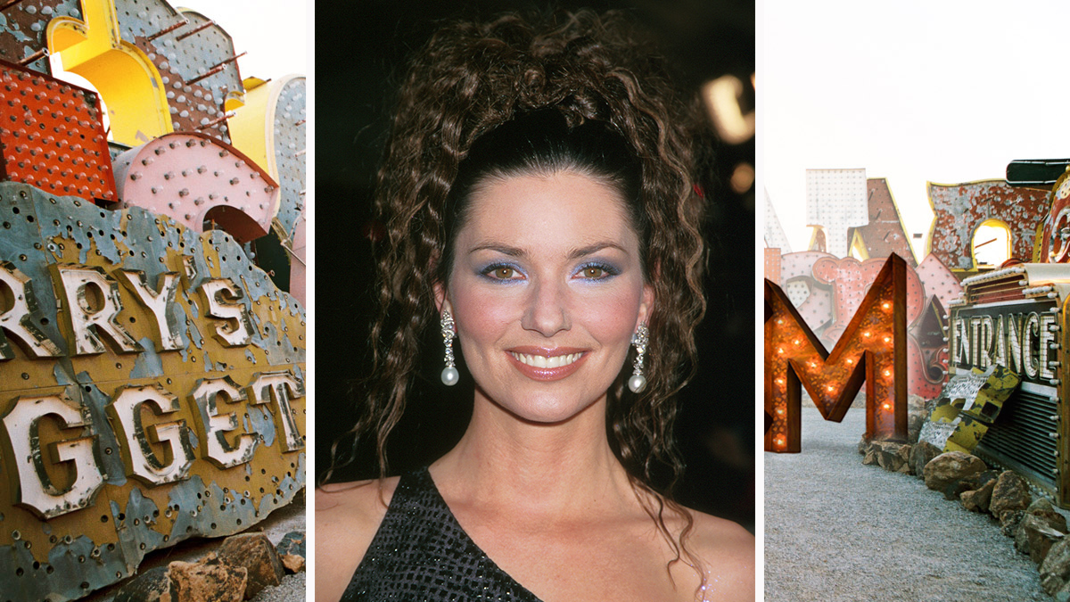 Shania Twain elevates her look with a crimped up-'do.