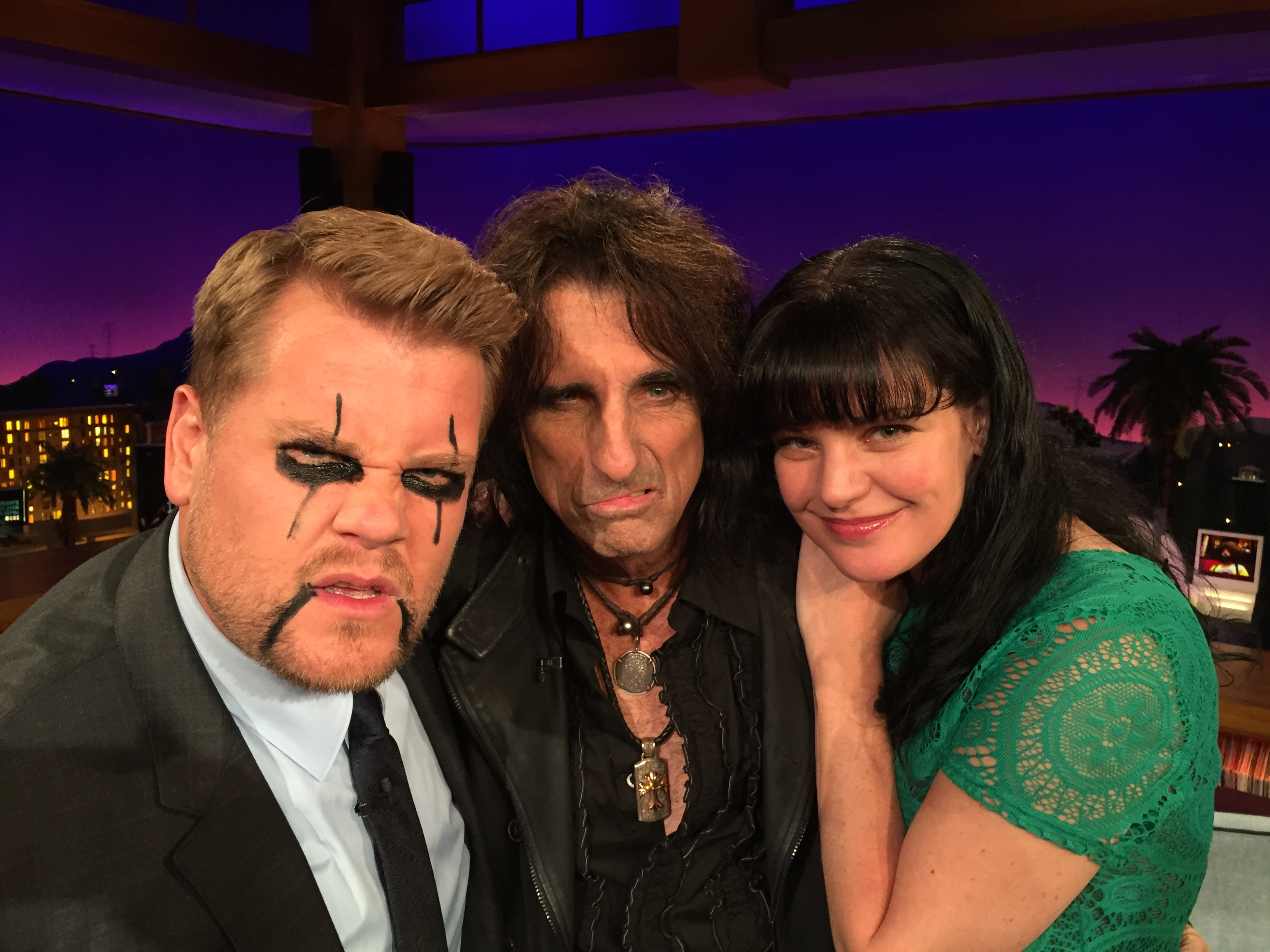 Pauley Perrette and her pal Alice Cooper showing off their makeup art on James