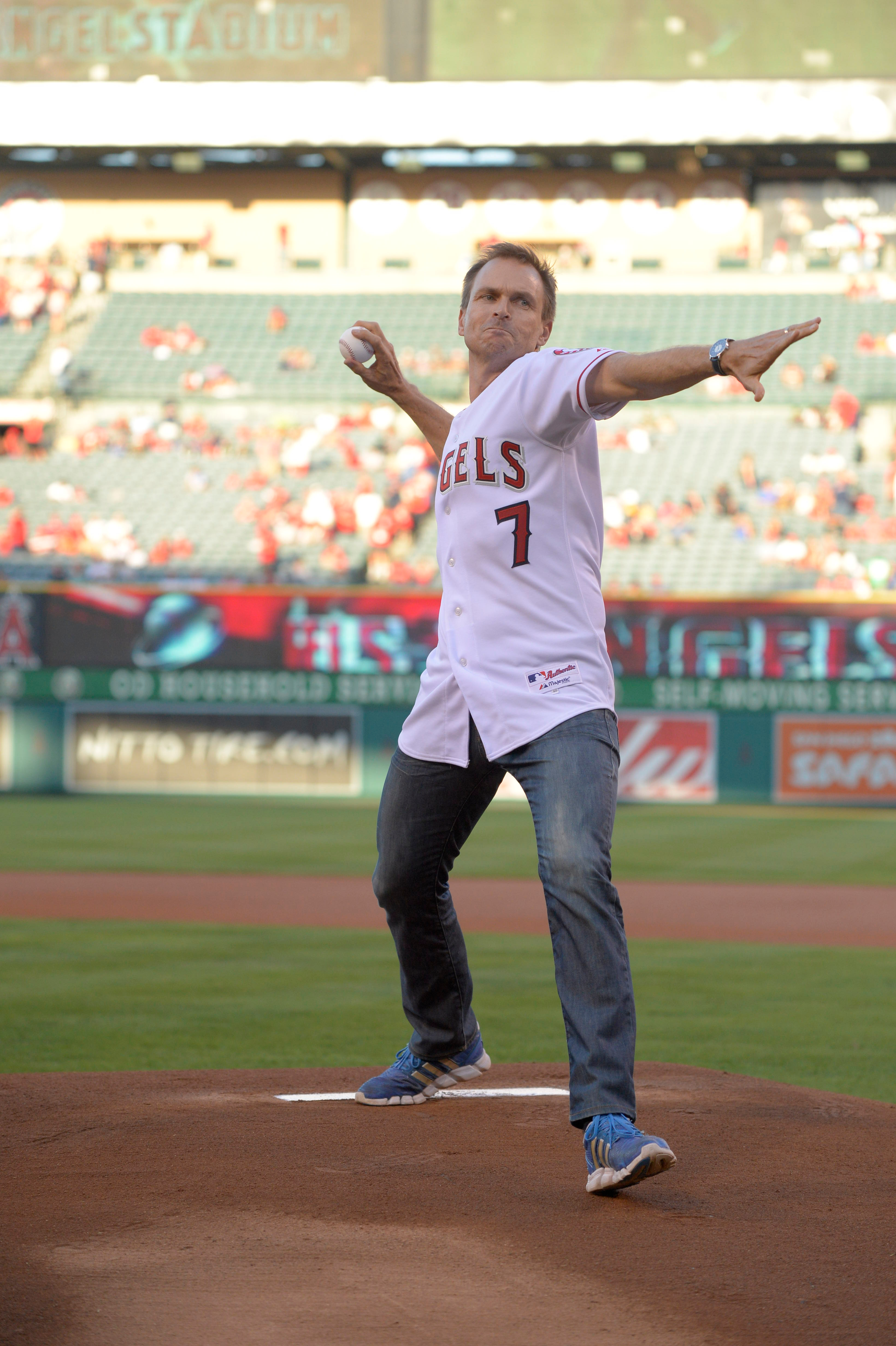 Phil throws the first pitch