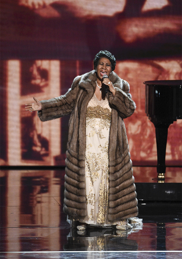 Music legend Aretha Franklin belts it out in celebration of Carole King.
