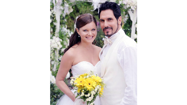 Katie Logan and Bill Spencer wore matching white for their union in 2009.