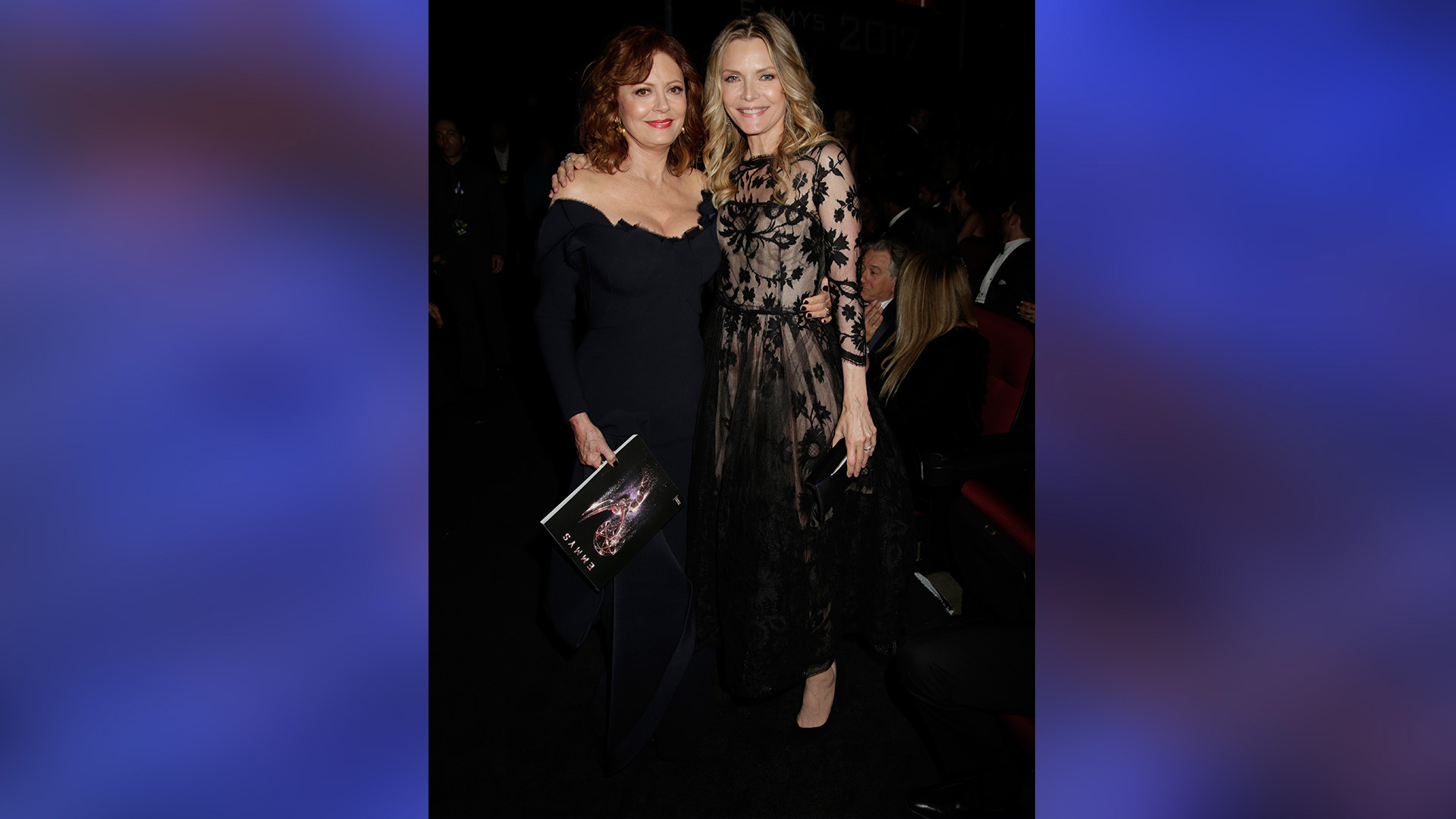 Susan Sarandon and Michelle Pfeiffer catch up at the Emmys while donning their best black dresses.