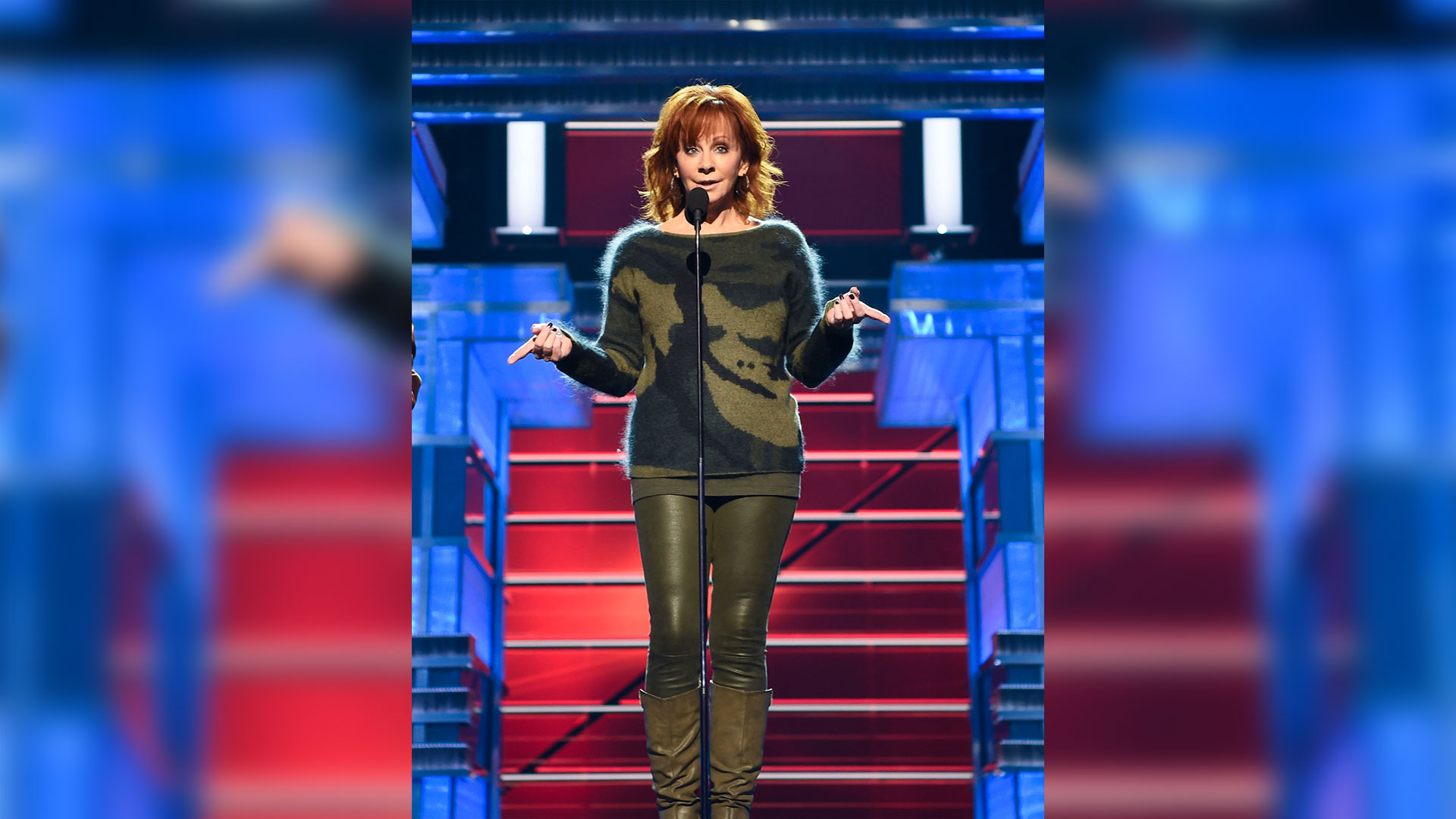 Reba McEntire runs her lines before hosting Country Music's Party of the Year on April 15.