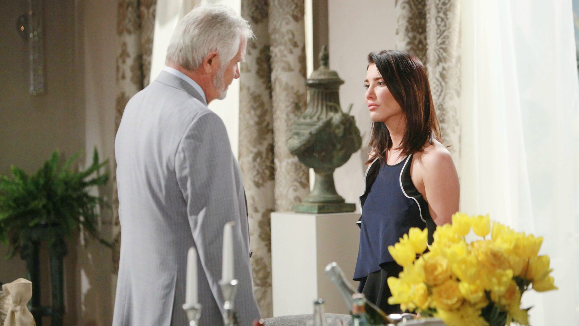 Steffy pleads with Eric to cut Quinn loose.