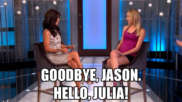 5. Jason leaves the house, which allows Julia to enter.