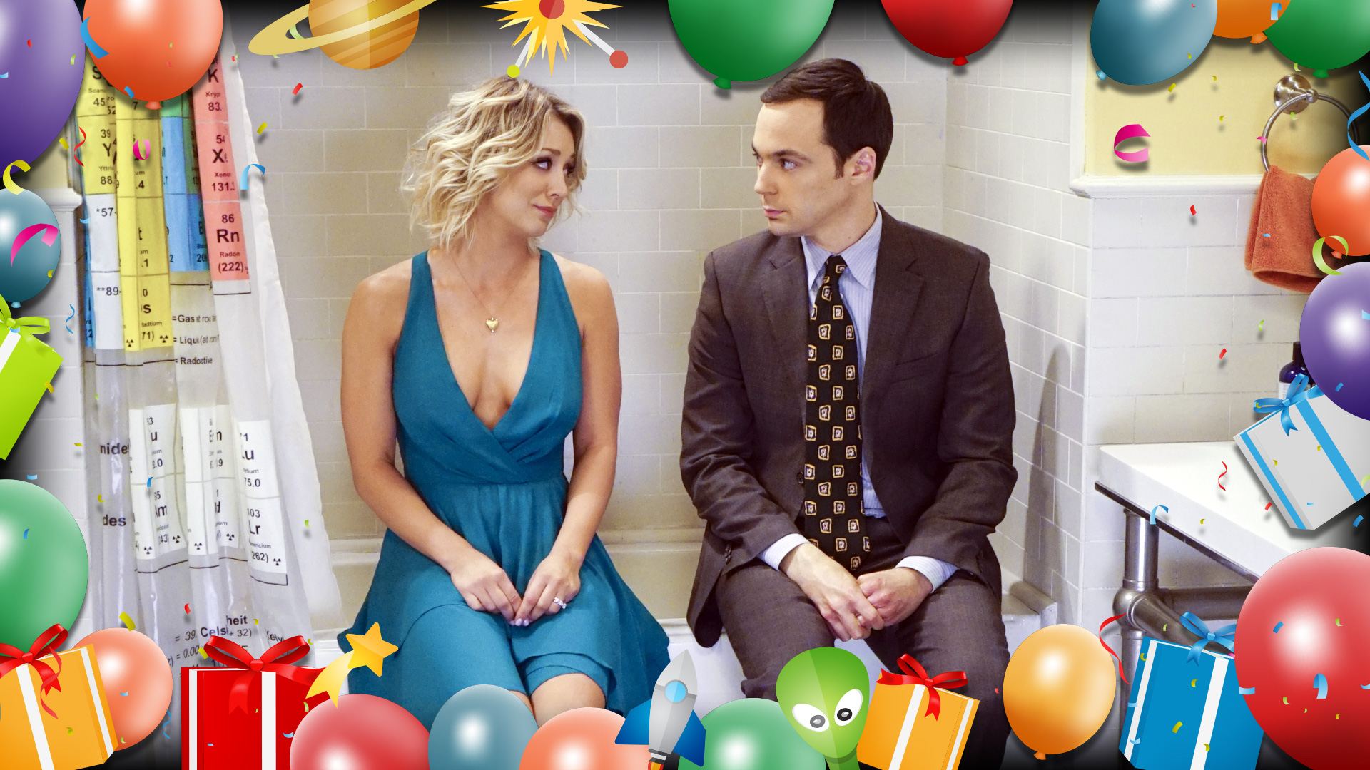 Penny comforts Sheldon in the bathroom.