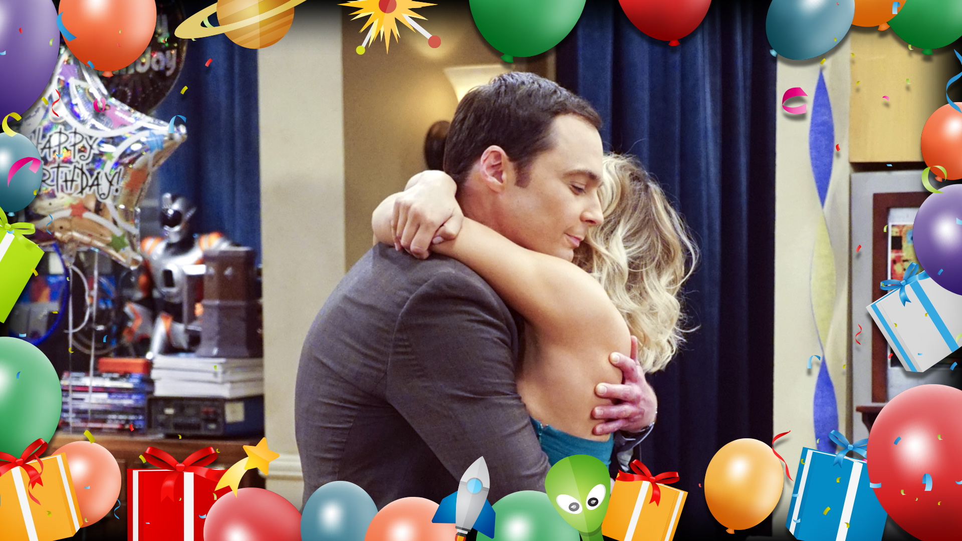 Sheldon and Penny embrace on the big day.