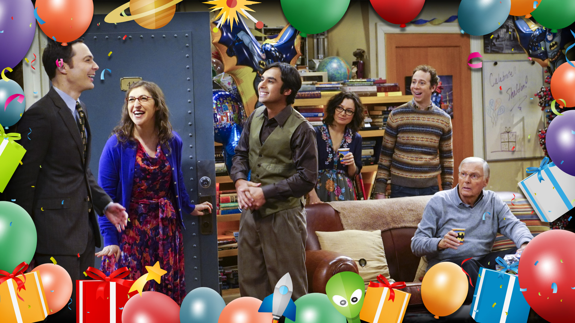 Sheldon is all smiles when he arrives at his birthday party.