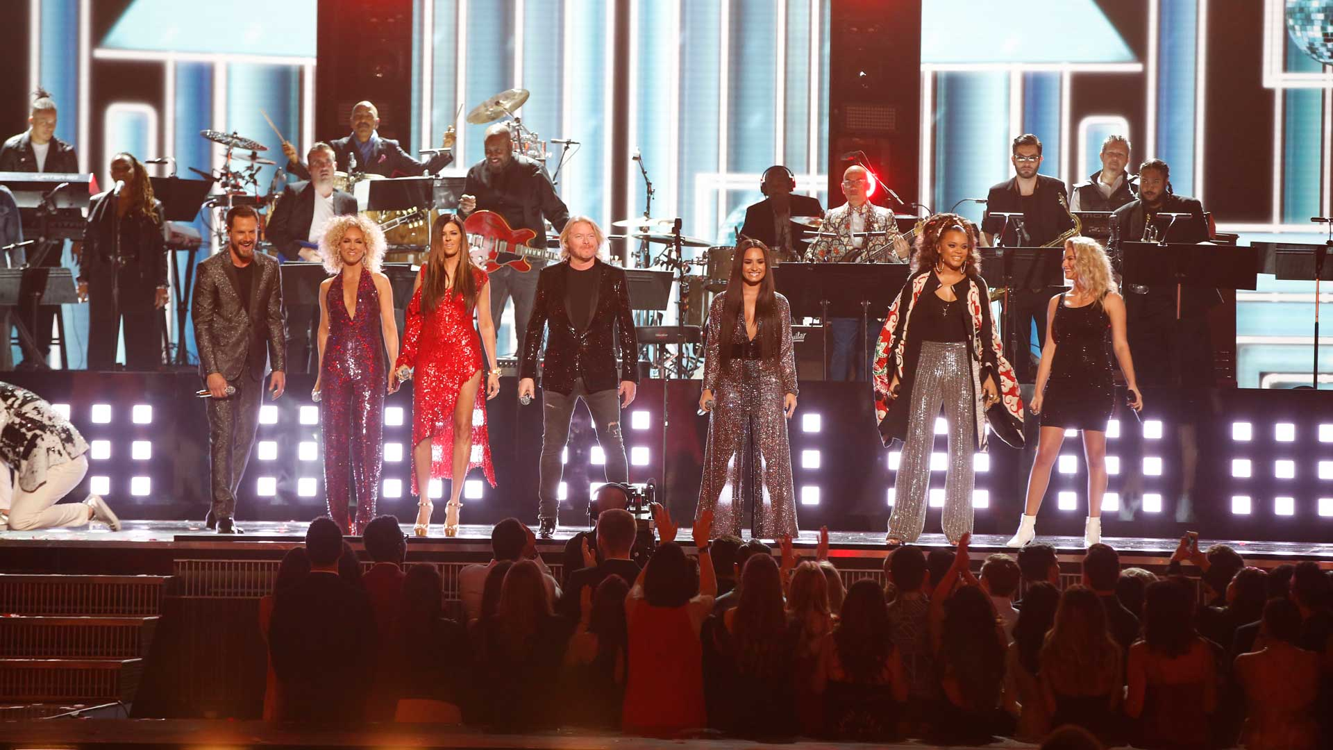 Demi Lovato, Tori Kelly, Little Big Town, and Andra Day perform a tribute to The Bee Gees at the 2017 GRAMMY Awards.