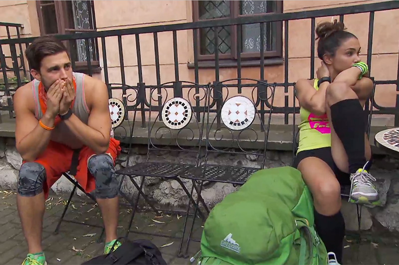 5. Tension building between Tanner and Krista as they waited outside the Roadblock.