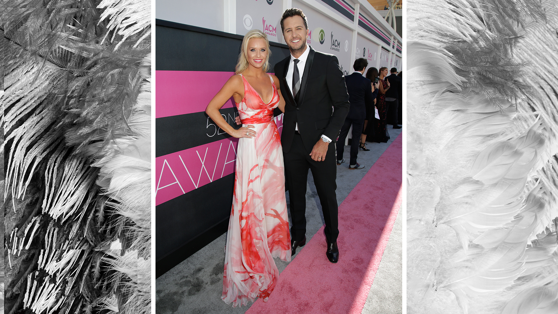 52nd ACM Awards co-host Luke Bryan graces the carpet with his wife, Caroline Boyer.