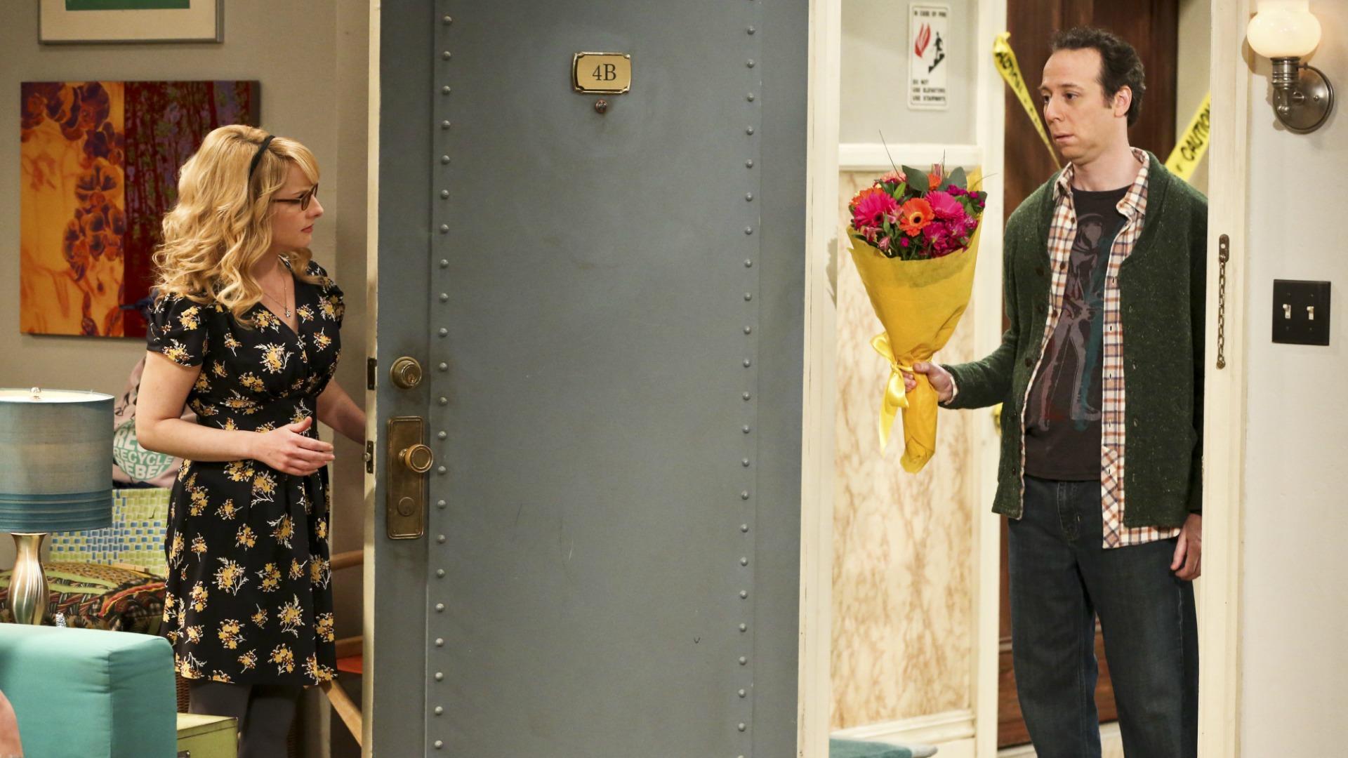 Stuart crashes girls' night with apology flowers from Sheldon.