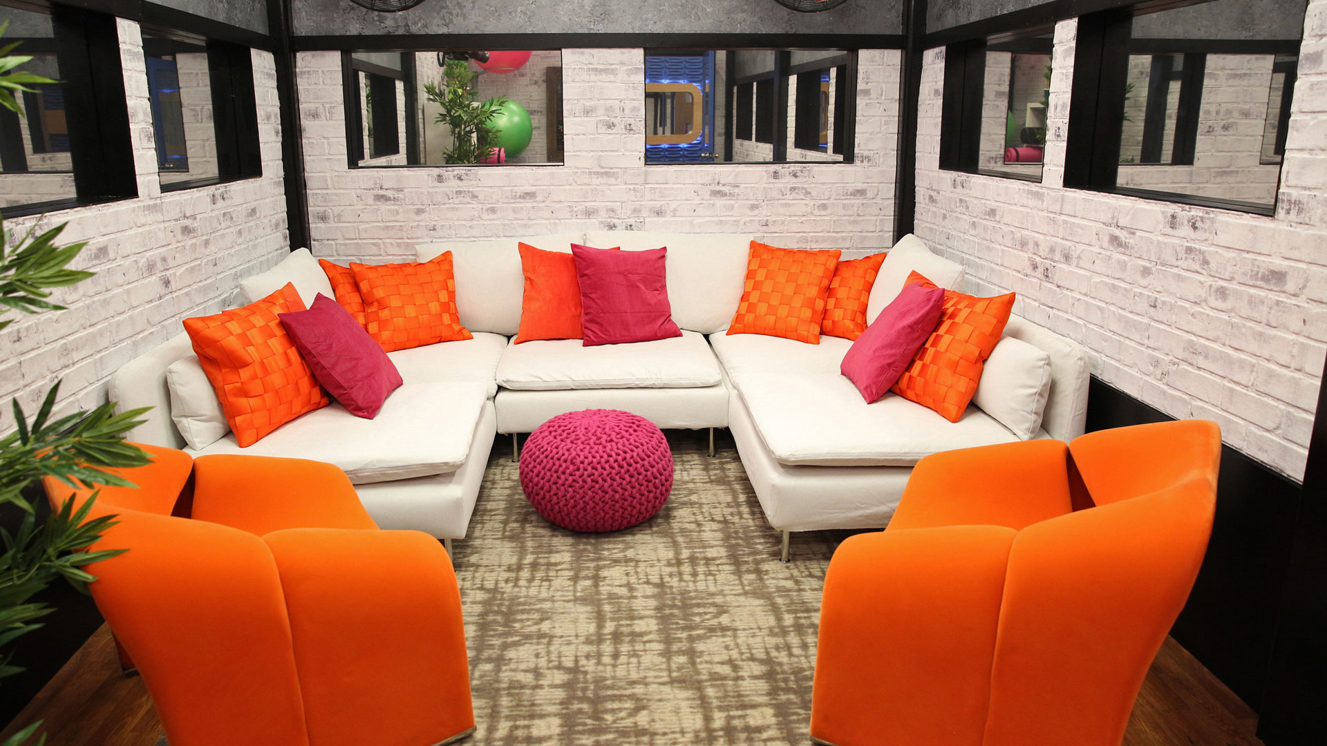 This vibrant nook is perfect for Houseguests to kick back or talk strategy.