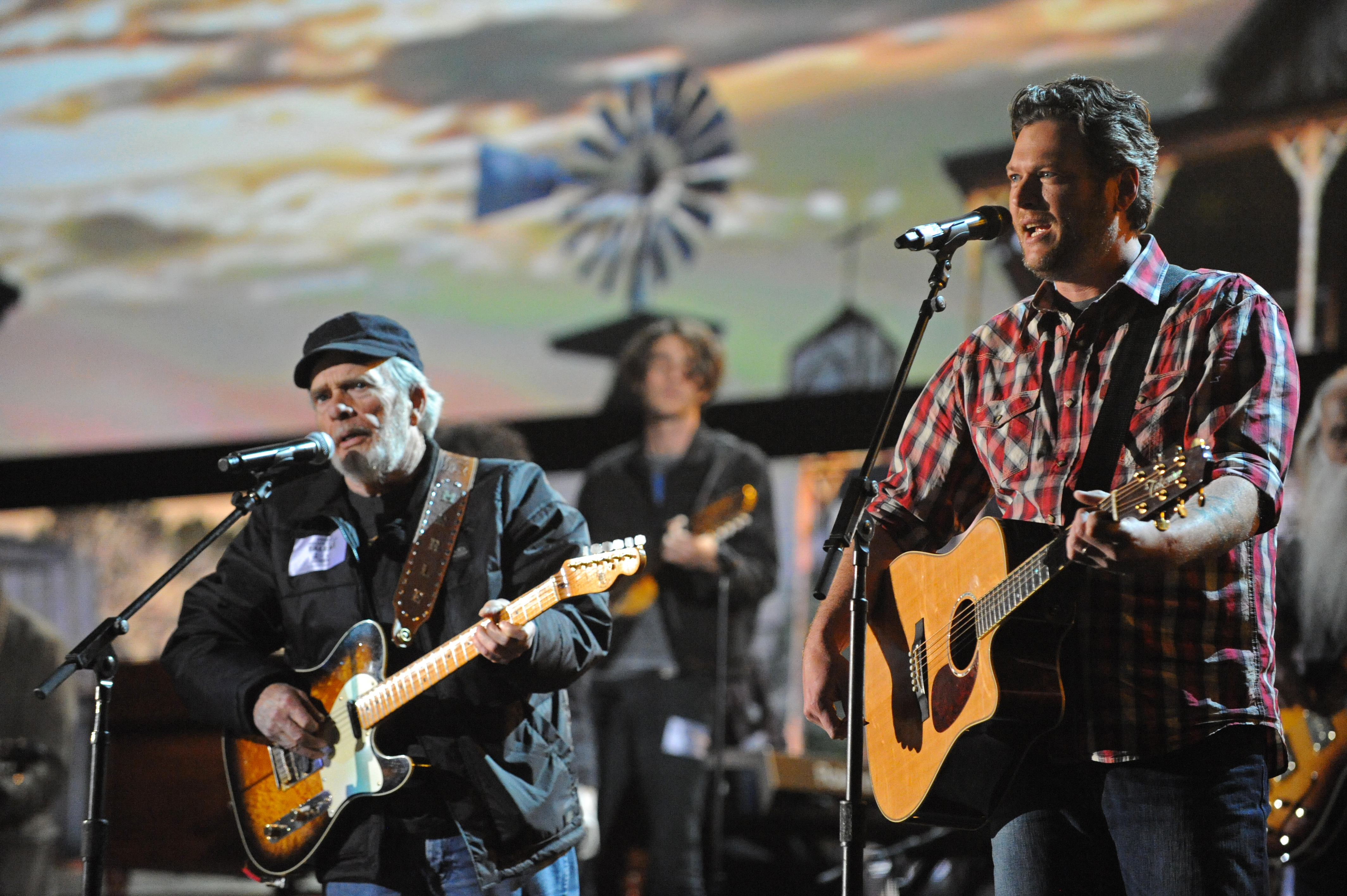 2014 GRAMMY Rehearsal Photos - Merle Haggard and Blake Shelton