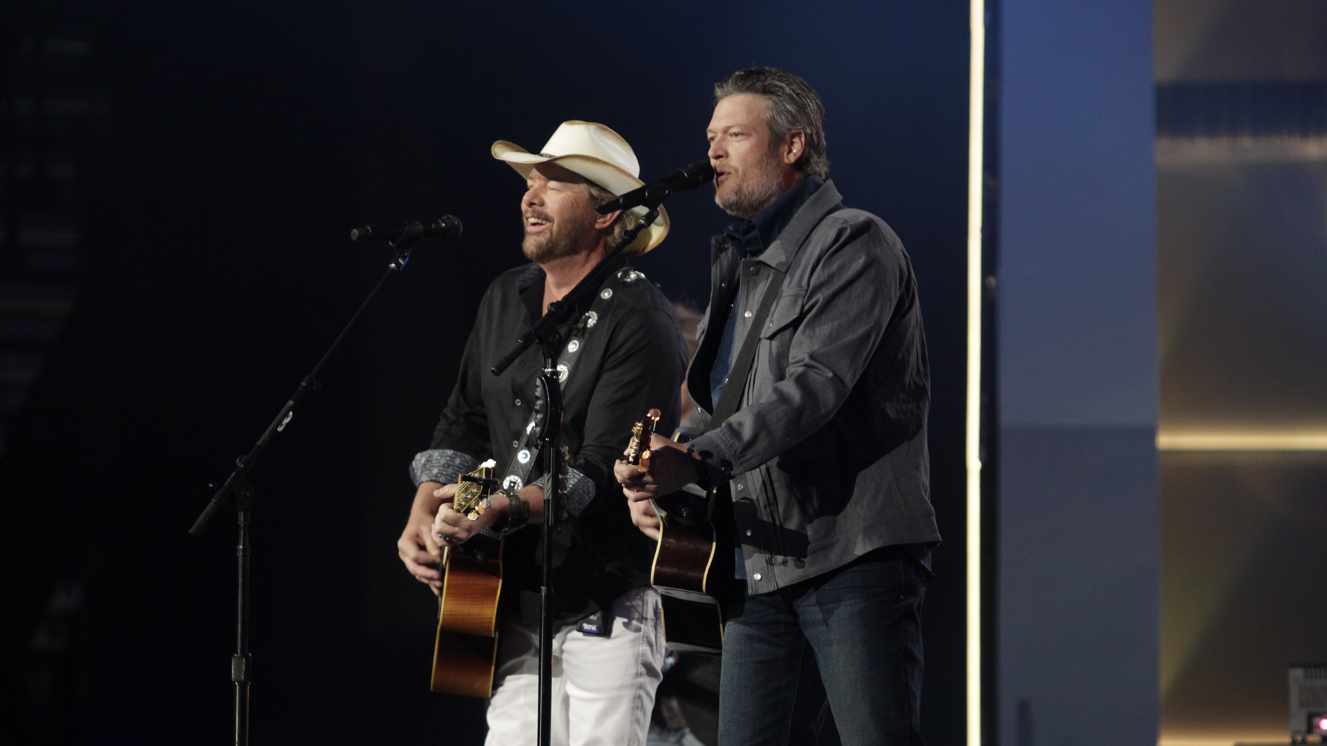 In an ACM flashback, Toby Keith and Blake Shelton perform Keith's 1993 hit
