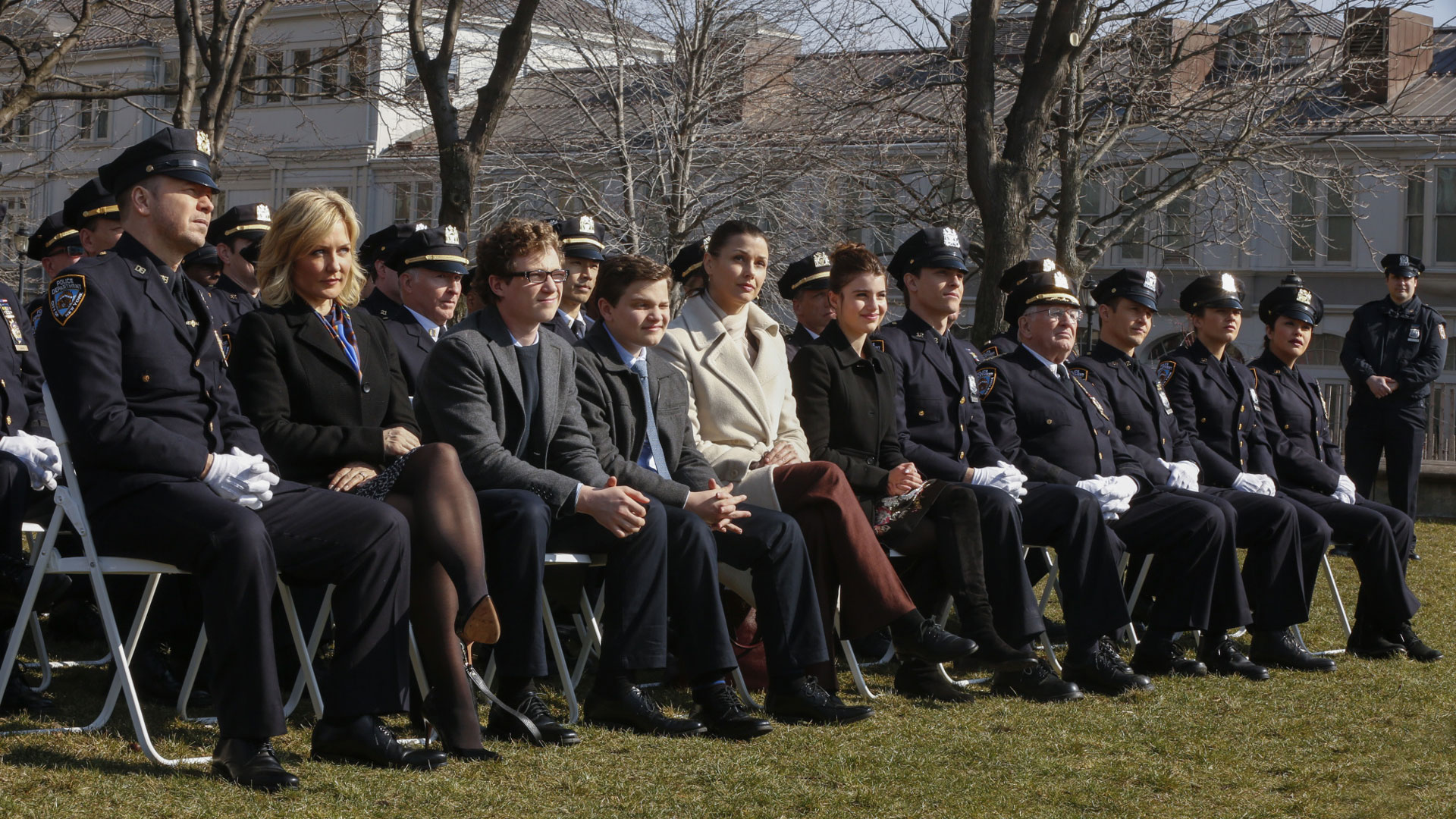 The Reagans gather in their dress blues.
