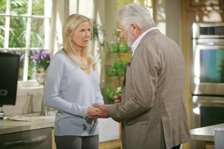 Eric pays a visit to Bill to discuss the ramifications of Brooke and Katie's current crisis.