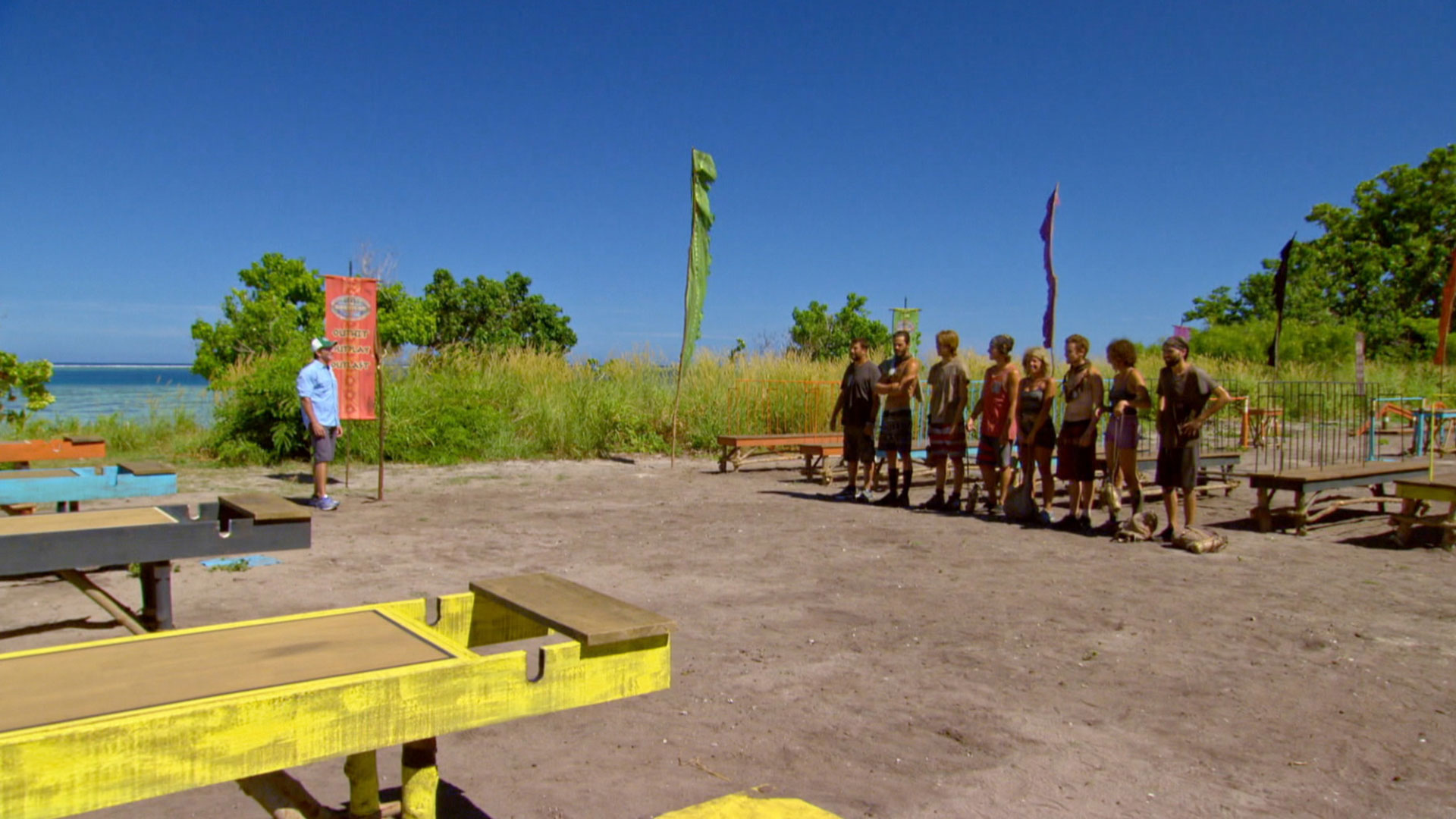 Host Jeff Probst explains the next Individual Immunity Challenge to the Final 8.