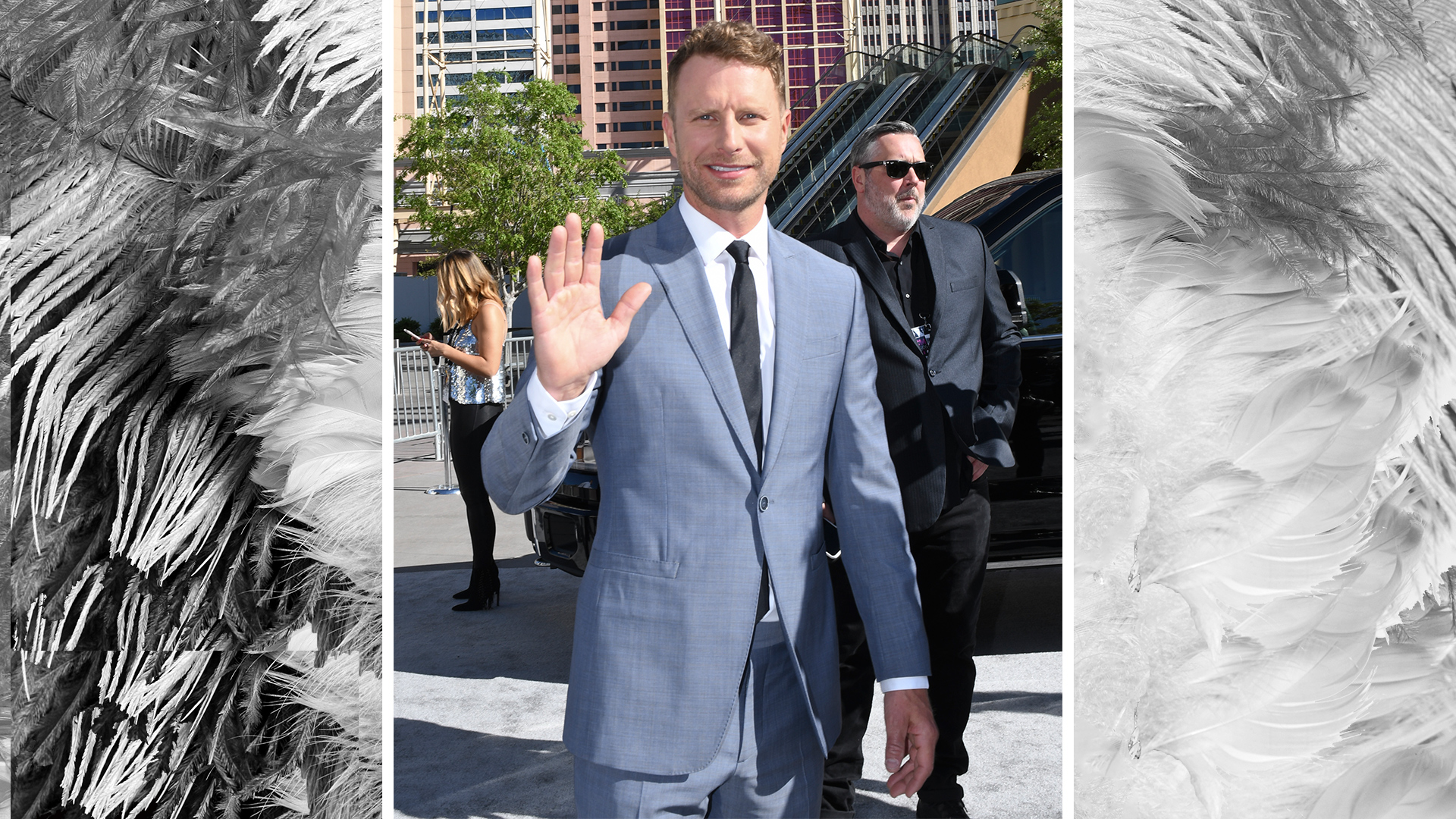 52nd ACM Awards co-host Dierks Bentley waves to the crowd before his big night begins.