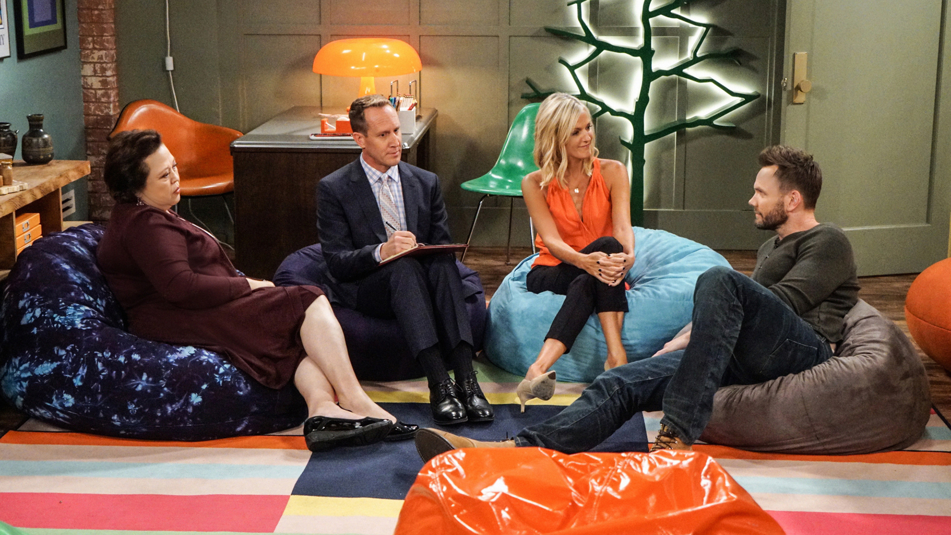 Jack gets a stern talking to... on bean bag chairs.