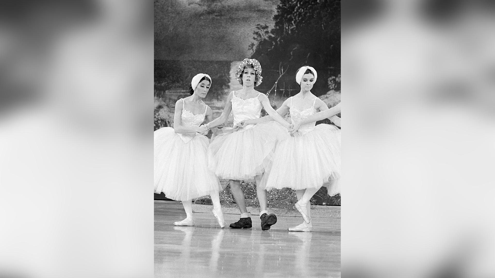 Carol Burnett a bit out of step with her fellow ballerinas.