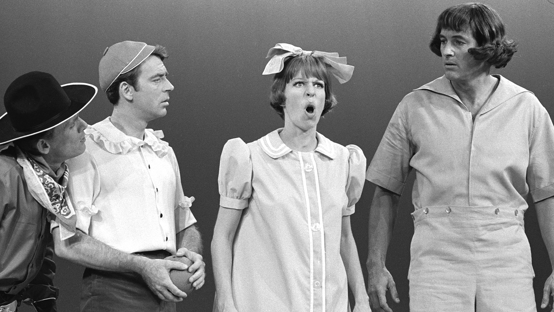 Carol Burnett with Frank Gorshin, Ken Berry, and Rock Hudson in the 1966 TV movie Carol and Company.