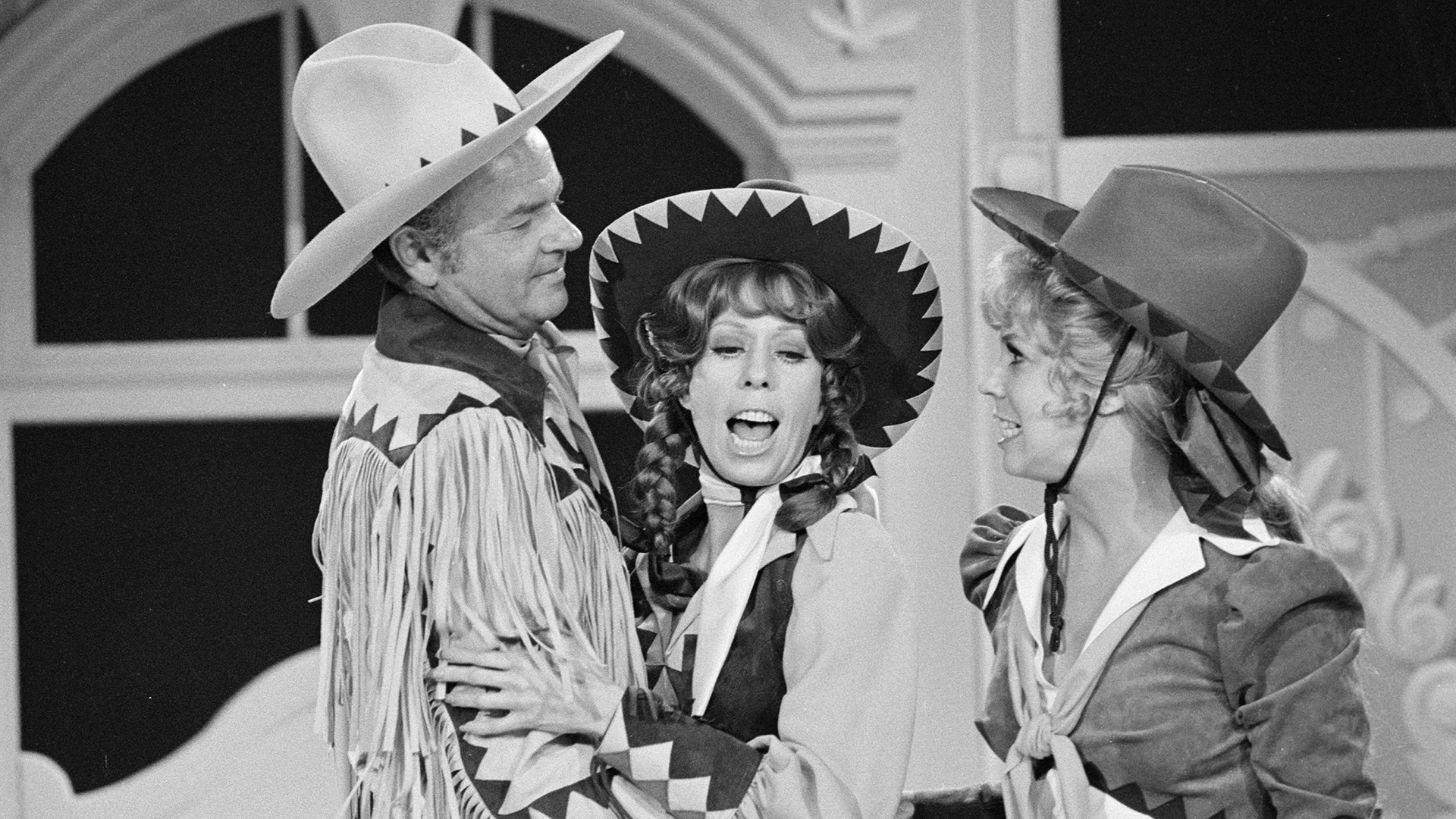 Carol Burnett with co-stars Vicki Lawrence and Harvey Korman.