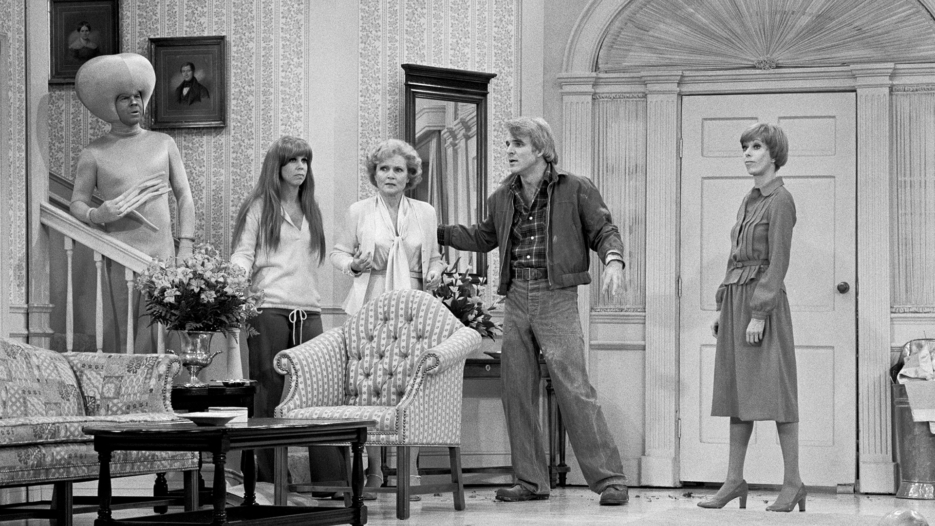 Carol Burnett with Steve Martin, Betty White, Vicki Lawrence, and Tim Conway.