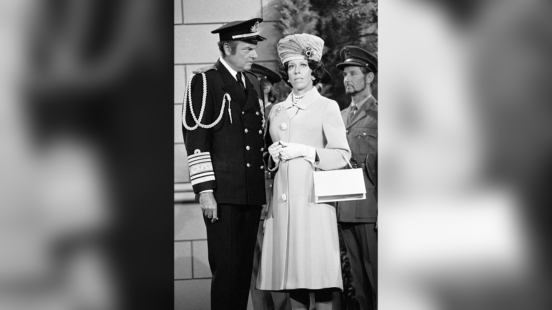 Carol Burnett, looking regal as ever as Queen Elizabeth II, with Harvey Korman as the king.