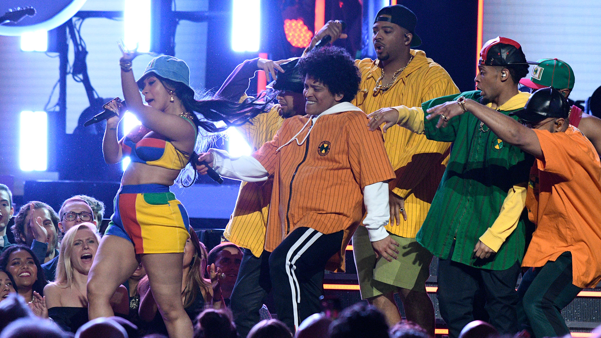 Bruno Mars and Cardi B pull out all the stops when they perform a fun and funky duet of