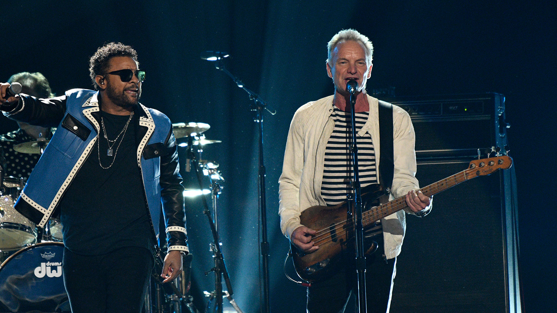 Sting and Shaggy jam out together when they perform the British icon's own