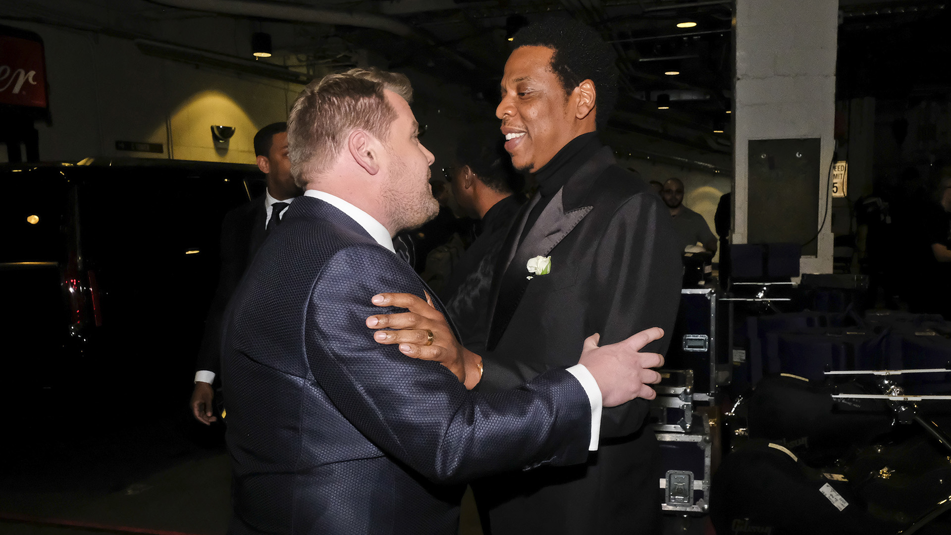 Host James Corden enjoys a moment backstage at Madison Square Garden with 2018 GRAMMY nominee and hip-hop legend JAY-Z.