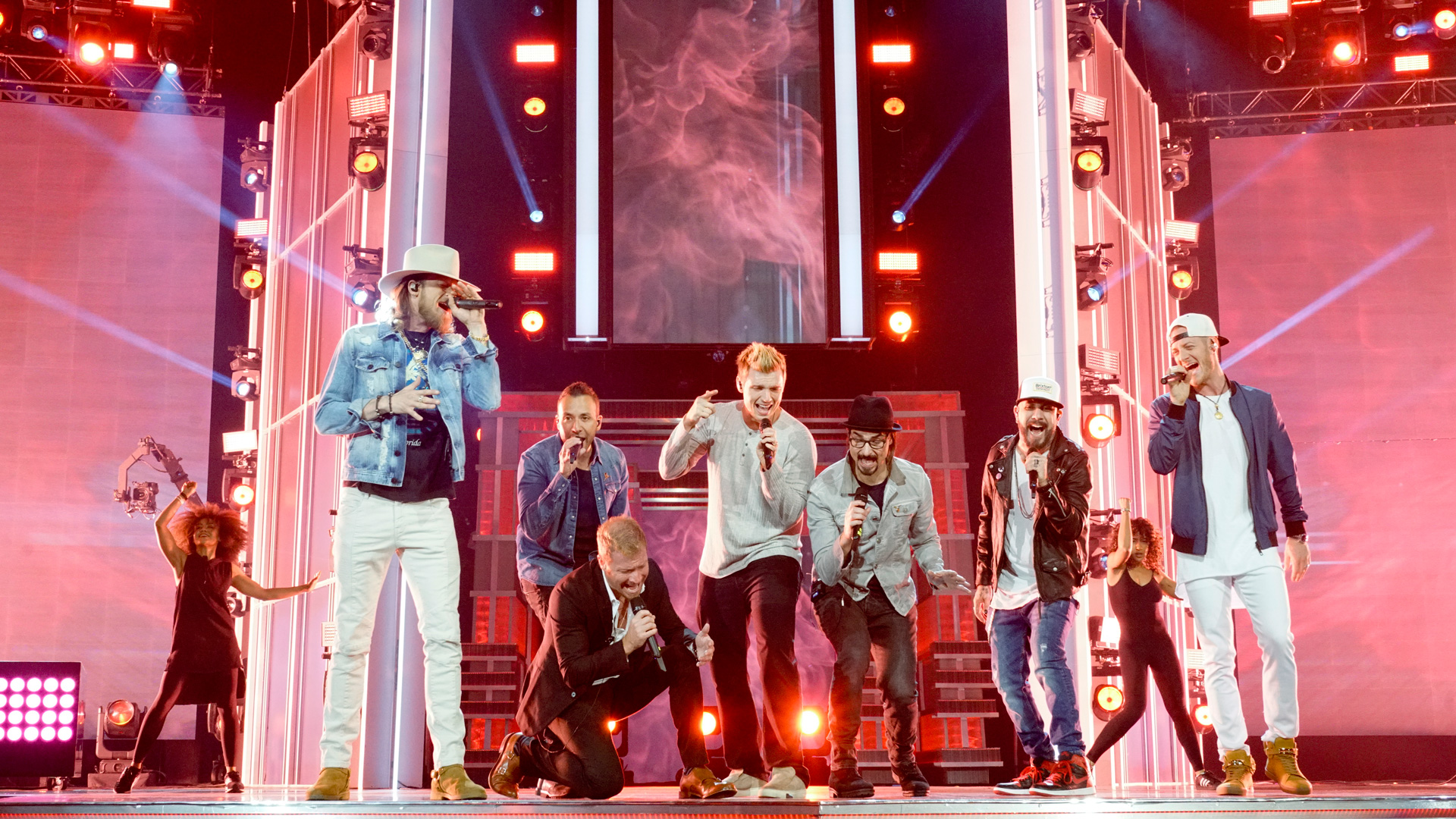 Florida Georgia Line and Backstreet Boys join in harmony on the 52nd ACM Awards stage.