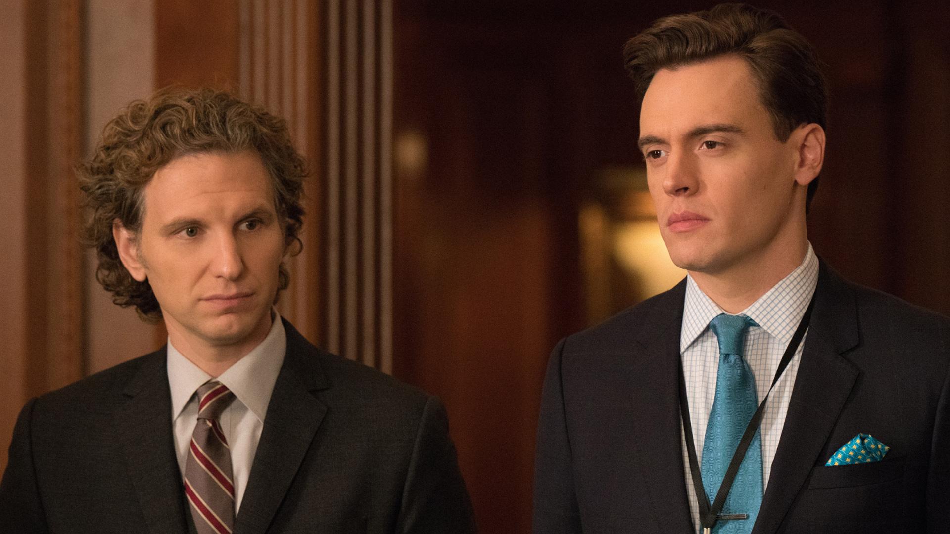 Sebastian and Erich Bergen (Blake Moran) look serious.