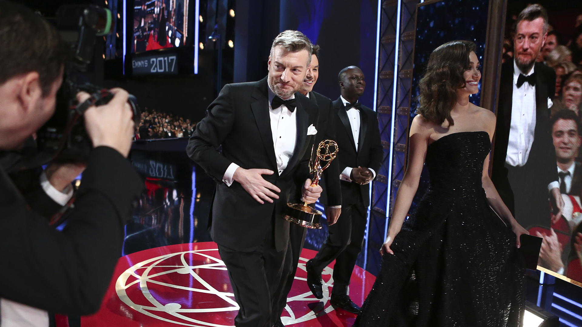 Charlie Brooker wins Outstanding Writing for a Limited Series or Movie at The 69th Emmy Awards.