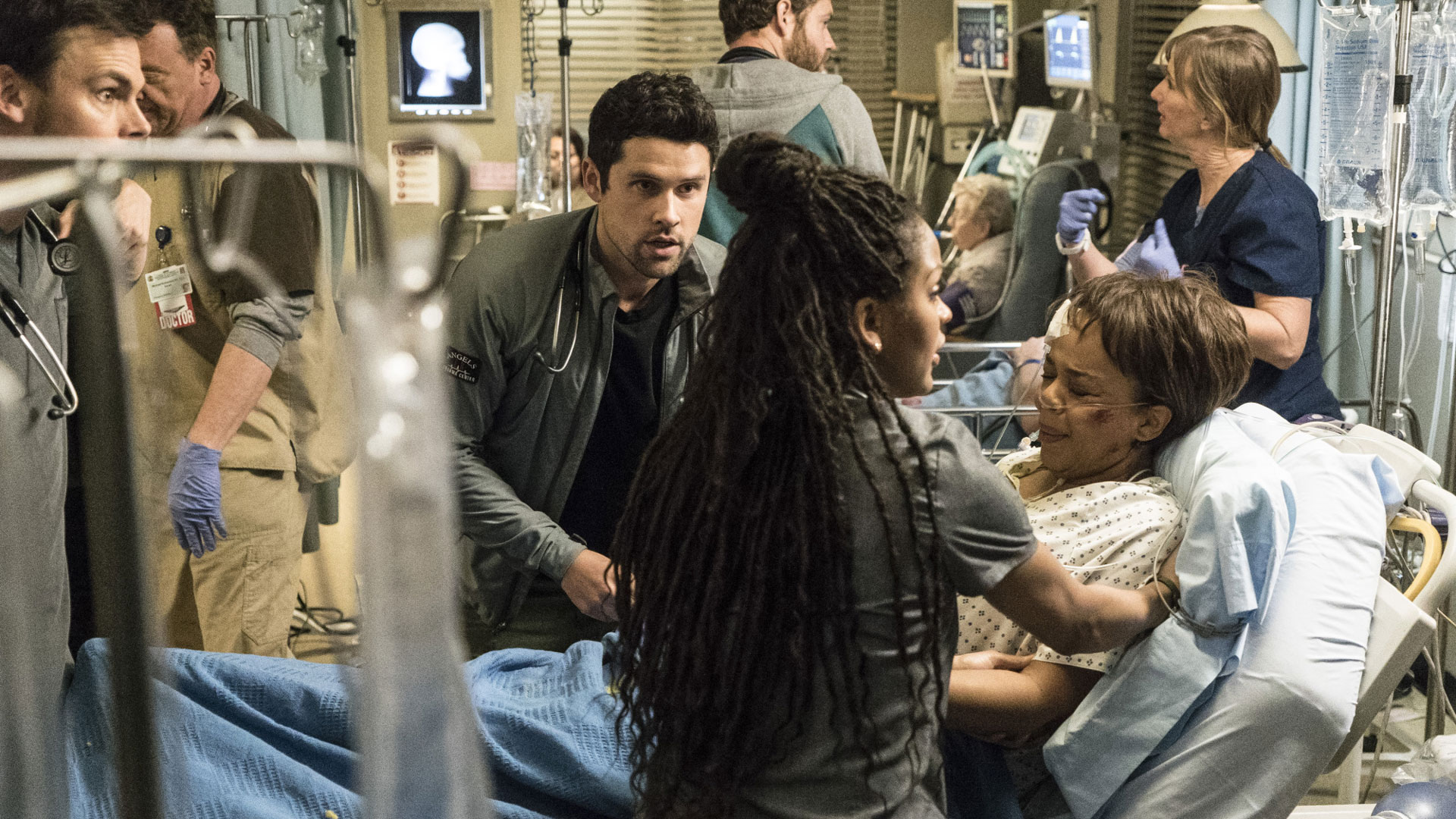 Tommy Dewey as Dr. Mike Leighton, Benjamin Hollingsworth as Dr. Mario Savetti, and Meagan Good as Dr. Grace Adams