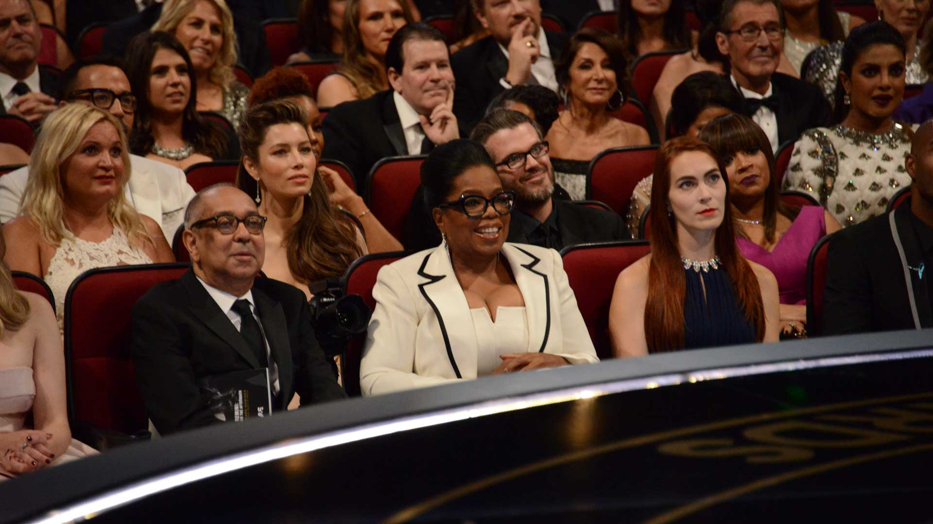 Oprah is front-and-center at the Emmys, while Jessica Biel and Priyanka Chopra watch the action from the second row.